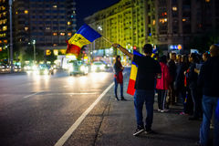 Protests day 96 in Bucharest, Romania Stock Images