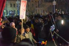 24 01 2018-protests em Romênia Foto de Stock
