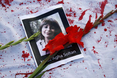 Protests Iran. JULY 25, 2009 - BERLIN: memory of the student Neda Agha Soltan who was killed - protests of exiled Iranians against the election outcomes in Iran stock image
