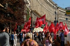 Protests on Khreschatyk, Kiev Stock Images