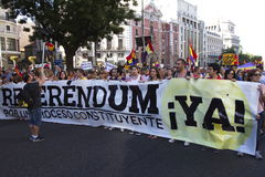 Protests in madrid. Referendum protests in Madrid, Spain Royalty Free Stock Images