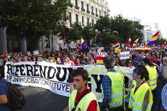 Protests in madrid. Referendum protests in Madrid, Spain Royalty Free Stock Photography