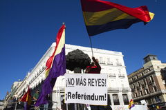 Protests in madrid. Referendum protests in Madrid, Spain Stock Photo
