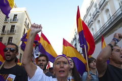 Protests in madrid. Referendum protests in Madrid, Spain Royalty Free Stock Photo