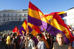 Protests in madrid. Referendum protests in Madrid, Spain Royalty Free Stock Photos
