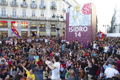 Protests in madrid Royalty Free Stock Photo