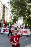 Protests over PKK terrorist attacks and commemoration for martyr. ESKISEHIR, TURKEY - SEP 7, 2015: Protests over PKK terrorist attacks and commemoration for stock photo