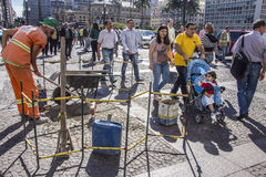 Protests in São Paulo - Brazil. The day after at city hall Royalty Free Stock Photography