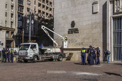 Protests in São Paulo - Brazil. The day after at city hall Stock Image
