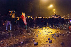 Protests during Polish independence day in Warsaw Royalty Free Stock Photo