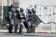 Protests in Rio de Janeiro has violence and damage to Carnival s Stock Images
