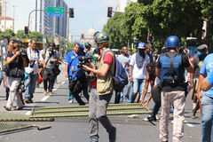 Protests in Rio de Janeiro has violence and damage to Carnival s Stock Photos