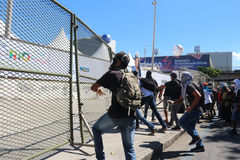 Protests in Rio de Janeiro has violence and damage to Carnival s Stock Image