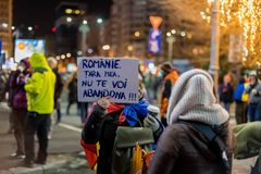Protests in Romania in December 2017. The photo was taken on December 10, 2017 in Bucharest, Romania Stock Photo
