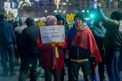 Protests in Romania in December 2017. The photo was taken on December 10, 2017 in Bucharest, Romania Royalty Free Stock Photo