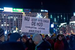 Protests in Romania in December 2017. The photo was taken on December 10, 2017 in Bucharest, Romania Stock Photos