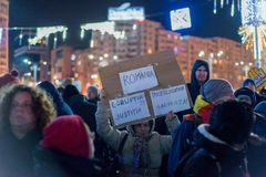 Protests in Romania in December 2017. The photo was taken on December 10, 2017 in Bucharest, Romania Royalty Free Stock Photography