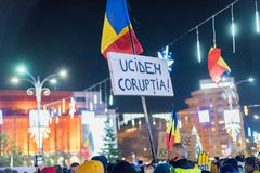 Protests in Romania in December 2017. The photo was taken on December 10, 2017 in Bucharest, Romania Stock Image