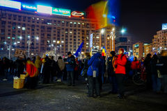 Protests in the 22th day in a row, Bucharest, Romania Royalty Free Stock Photos