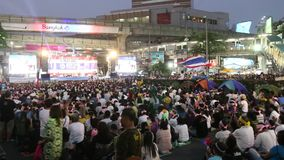 Protests to Shut Down Bangkok. Protesters blocking all major roads and bridges into and out of the National Stadium BTS Station, Bangkok, Thailand stock video footage
