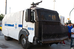 Protests in Turkey. Riot Control Vehicle is waiting to intervene in protest police who shot and killed protestor Ethem Sarisuluk during protests in Turkey on Royalty Free Stock Photo