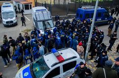 Protests of Ukrainian patriots near General Consulate of Russian Federation in Odessa against aggression of Russia. Odessa / Ukraine - November 26 2018: Protests stock photos