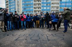 Protests of Ukrainian patriots near General Consulate of Russian Federation in Odessa against aggression of Russia. Odessa / Ukraine - November 26 2018: Protests stock photo