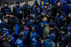 Protests of Ukrainian patriots near General Consulate of Russian Federation in Odessa against aggression of Russia. Odessa / Ukraine - November 26 2018: Protests royalty free stock images