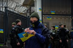 Protests of Ukrainian patriots near General Consulate of Russian Federation in Odessa against aggression of Russia. Odessa / Ukraine - November 26 2018: Protests stock photography