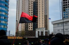 Protests of Ukrainian patriots near General Consulate of Russian Federation in Odessa against aggression of Russia. Odessa / Ukraine - November 26 2018: Protests royalty free stock photo