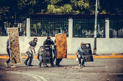 Protests in Venezuela. During clashes with National Guard Royalty Free Stock Photo