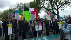 Protestujący uczy się dwujęzycznego skandowanie przy Chicagowskim ` s Maj dniem zbierają zbiory