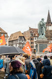 Protestujący zbierający przy Kleber rzędu Kwadratowymi protestującymi śliwkami Zdjęcia Stock