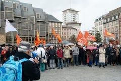 Protestujący zbierający przy Kleber rzędu Kwadratowymi protestującymi śliwkami Obraz Royalty Free