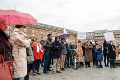 Protestujący zbierający przy Kleber rzędu Kwadratowymi protestującymi śliwkami Obraz Stock