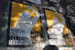 Protestujący na kobiety ` s Marzec w Portugalia Zdjęcia Royalty Free