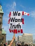 Protestujący na Parlamentu Wzgórzu Ottawa Fotografia Royalty Free