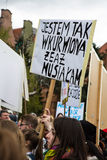Protestuje przeciw antyaborcyjnemu prawu w Polska, Gdańskim, 2016 04 24, Obraz Royalty Free