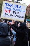 Protestuje przeciw antyaborcyjnemu prawu w Polska, Gdańskim Fotografia Stock