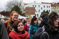 Protestuje przeciw antyaborcyjnemu prawu w Polska, Gdańskim, 2016 04 24, Zdjęcia Royalty Free