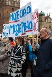Protestuje przeciw antyaborcyjnemu prawu w Polska, Gdańskim, 2016 04 24, Zdjęcie Stock