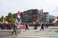 Protestuje przeciw fuzi Alsace region z Lorraine i Champa Zdjęcia Stock