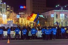 Protestuje przeciw prawom sprawiedliwość w Bucharest fotografia royalty free