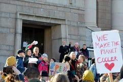 Protestuje przeciw rz?dowej bierno?ci na zmiana klimatu, Helsinki, Finlandia zdjęcie stock