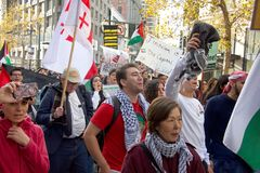 Protestuje w San Fransisco, CA co do Jerozolima oznajmiał capitol Isreal Fotografia Stock