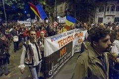 Protesty przeciw cyjanek złocistej ekstrakci przy Rosia Montana Fotografia Stock