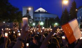 Protesty przeciw rzędowi w Polska Obraz Stock