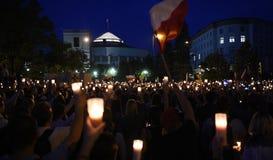Protesty przeciw rzędowi w Polska Fotografia Royalty Free