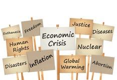 Protestzeichenvorstand-Weltproblem Stockbild