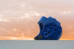 Protetor azul da cabeça de Taekwondo Foto de Stock